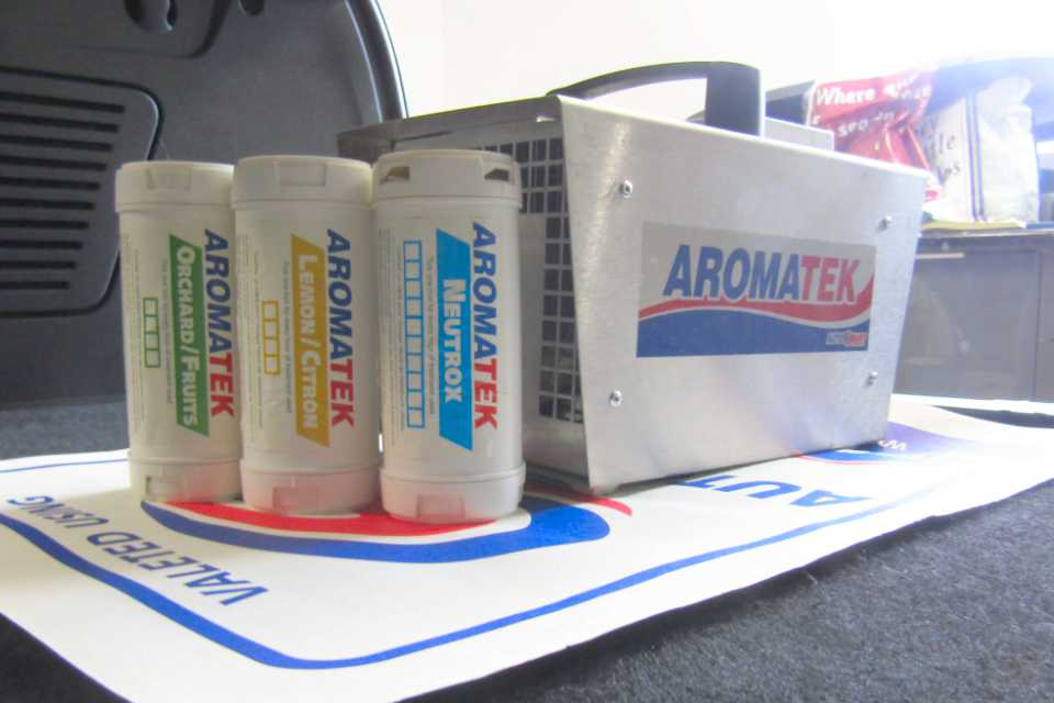 A collection of Aromatek bottles for car odour removal