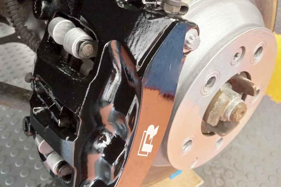 A painted Golf-R brake calliper