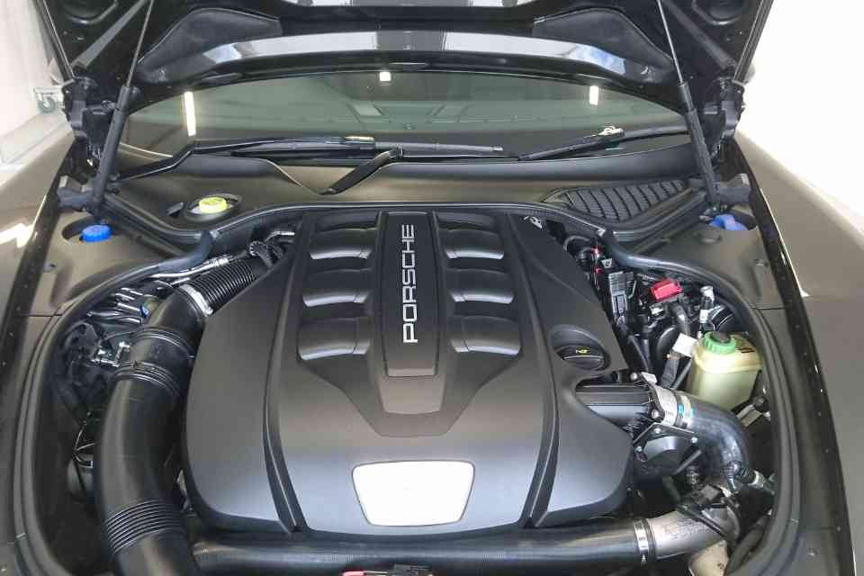 An immaculately clean Porsche car engine