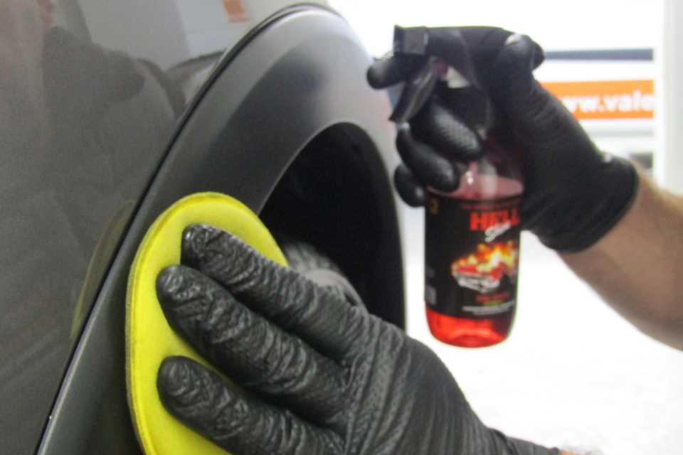 Special product used whilst cleaning a cars wheel arch