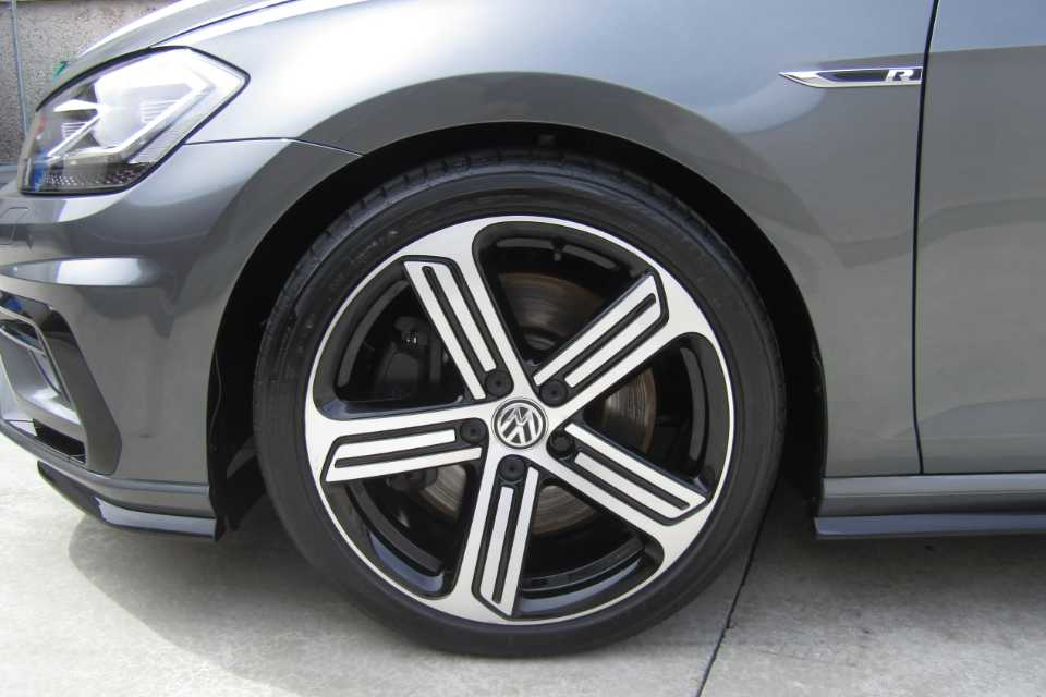 A Volkswagen Golf-R with a clean wheel arch